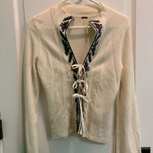 Free people tie front cardigan cream m
